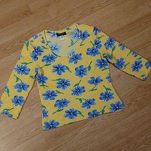 Stephanie Erin Yellow& Blue Flower Shirt, 12, EUC